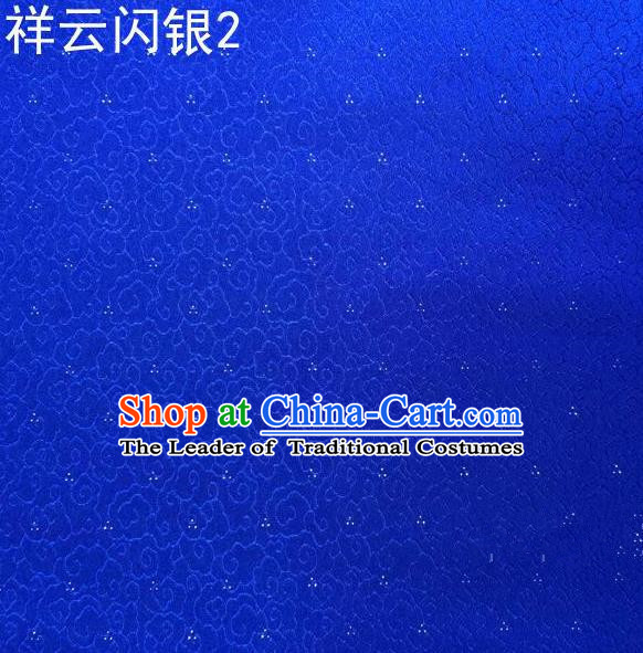Asian Chinese Traditional Embroidery Gold Thread Blue Satin Silk Fabric, Top Grade Brocade Tang Suit Hanfu Fabric Cheongsam Cloth Material