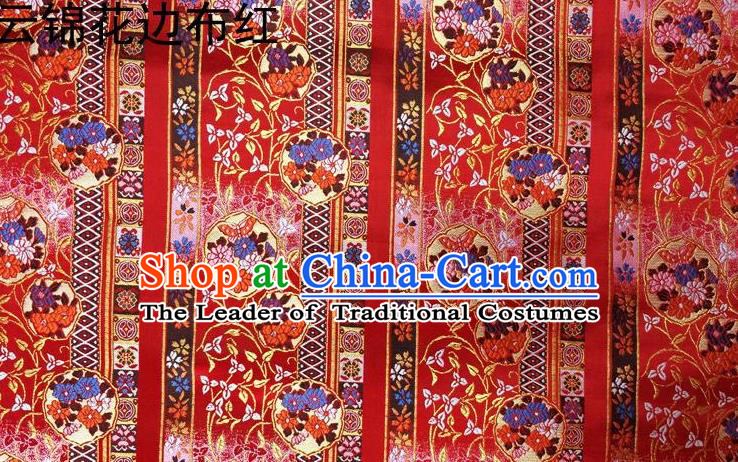 Asian Chinese Traditional Embroidery Satin Silk Fabric, Top Grade Red Nanjing Brocade Tang Suit Hanfu Fabric Cheongsam Cloth Material