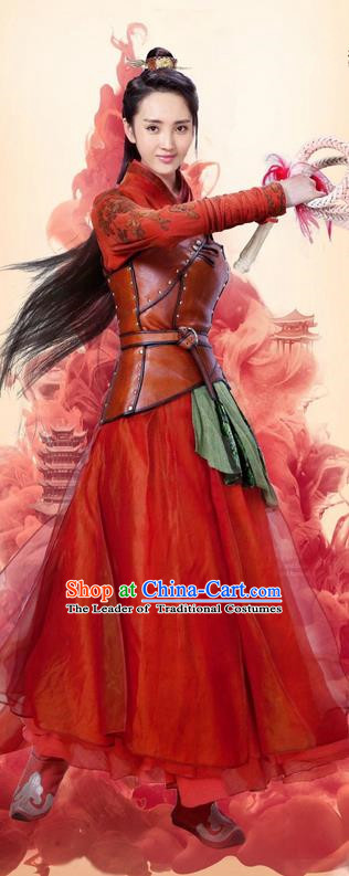 Traditional Ancient Chinese Swordswoman Costume and Headpiece Complete Set, Chinese Ming Dynasty chivalrous Woman Red Dress Clothing