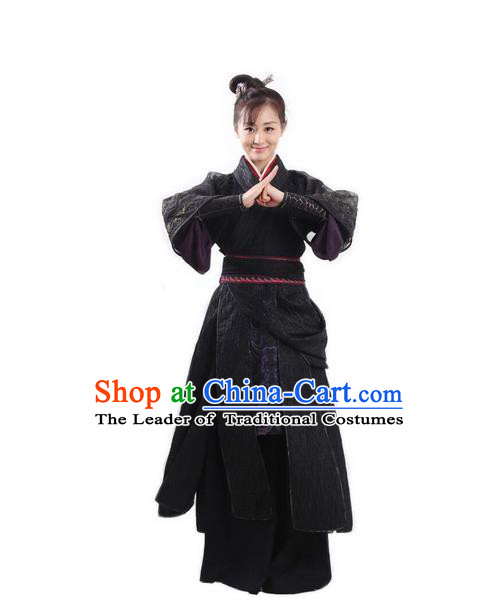 Traditional Ancient Chinese Swordswoman Costume and Headpiece Complete Set, Chinese Ming Dynasty Assassin Hanfu Clothing for Women