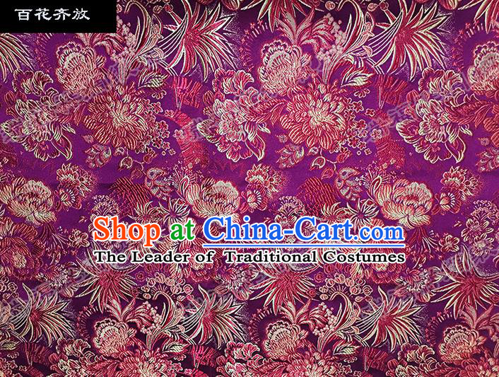 Asian Chinese Traditional Satin Embroidery Mulberry Silk Fabric, Top Grade Nanjing Brocade Tang Suit Hanfu Purple Fabric Cheongsam Cloth Material