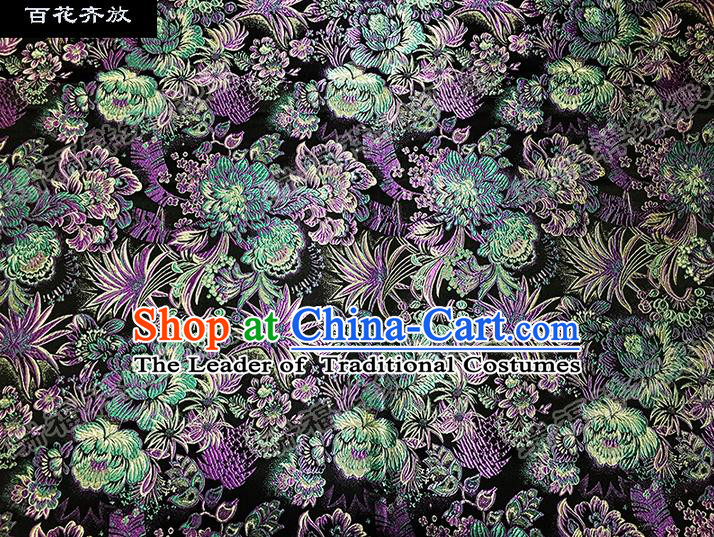 Asian Chinese Traditional Satin Embroidery Mulberry Silk Fabric, Top Grade Nanjing Brocade Tang Suit Hanfu Black Fabric Cheongsam Cloth Material