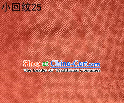 Asian Chinese Traditional Handmade Silk Fabric, Top Grade Nanjing Brocade Tang Suit Hanfu Orange Fabric Cheongsam Cloth Material