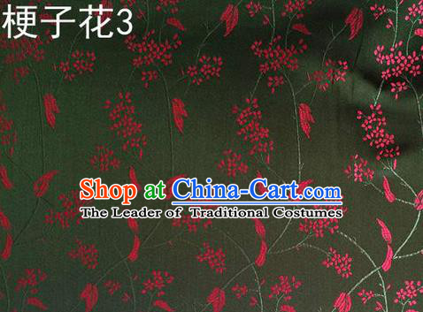 Asian Chinese Traditional Handmade Embroidery Stem Flowers Silk Fabric, Top Grade Nanjing Brocade Tang Suit Hanfu Atrovirens Fabric Cheongsam Cloth Material