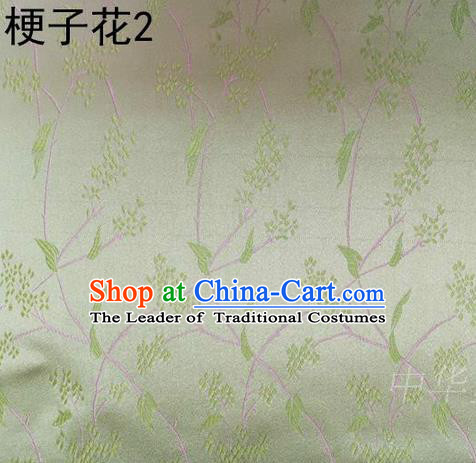Asian Chinese Traditional Handmade Embroidery Stem Flowers Silk Fabric, Top Grade Nanjing Brocade Tang Suit Hanfu Light Green Fabric Cheongsam Cloth Material