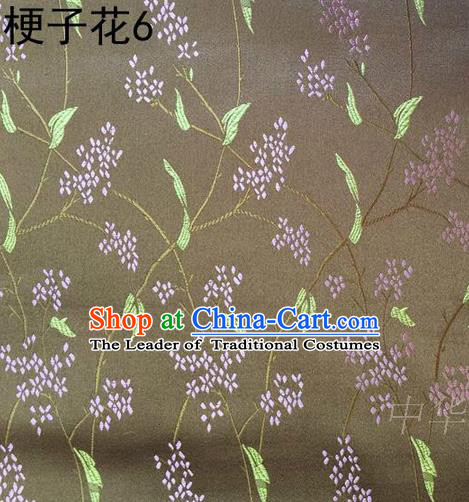 Asian Chinese Traditional Handmade Embroidery Stem Flowers Silk Fabric, Top Grade Nanjing Brocade Tang Suit Hanfu Brown Fabric Cheongsam Cloth Material