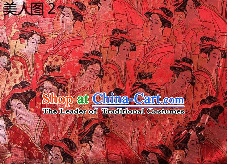 Asian Chinese Traditional Handmade Printing Portrait of a Lady Silk Fabric, Top Grade Nanjing Brocade Tang Suit Hanfu Red Fabric Cheongsam Cloth Material