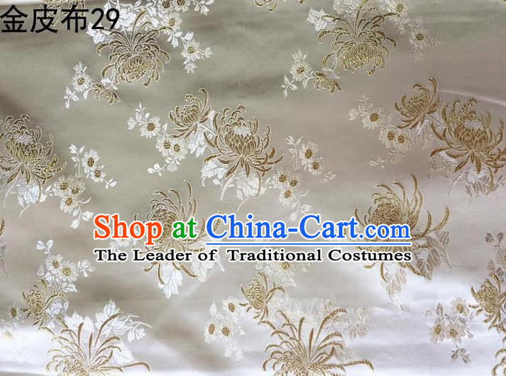 Asian Chinese Traditional Handmade Embroidery Chrysanthemum Flowers Satin Silk Fabric, Top Grade Nanjing Brocade Tang Suit Hanfu Fabric Cheongsam Cloth Material