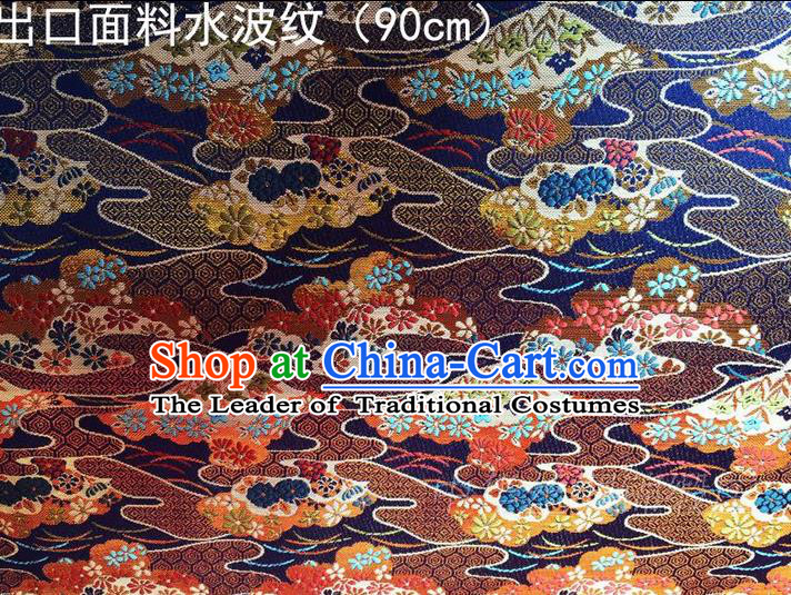 Asian Chinese Traditional Handmade Embroidery Ripple Satin Silk Fabric, Top Grade Nanjing Brocade Tang Suit Hanfu Blue Fabric Cheongsam Cloth Material