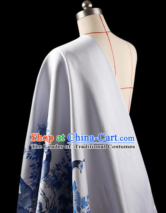 Asian Chinese Traditional Handmade Jacquard Weave Printing Peacock Silk Fabric, Top Grade Nanjing Brocade Tang Suit Hanfu White Fabric Cheongsam Cloth Material