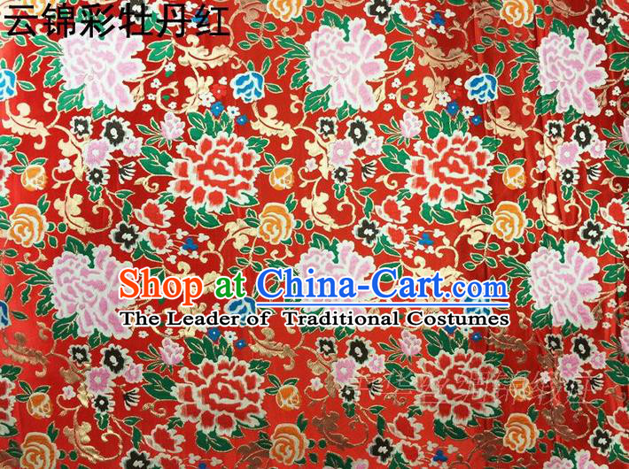 Asian Chinese Traditional Handmade Embroidery Peony Satin Silk Fabric, Top Grade Nanjing Brocade Tang Suit Hanfu Red Fabric Cheongsam Cloth Material
