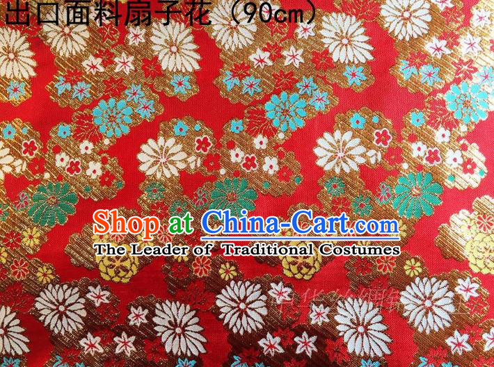 Asian Chinese Traditional Handmade Embroidery Flowers Satin Silk Fabric, Top Grade Nanjing Brocade Tang Suit Kimono Hanfu Red Fabric Cheongsam Cloth Material