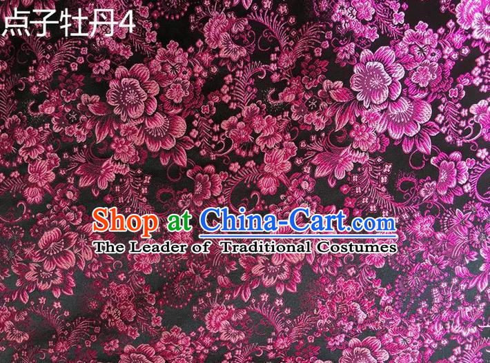Asian Chinese Traditional Handmade Embroidery Peony Flowers Satin Silk Fabric, Top Grade Nanjing Brocade Tang Suit Hanfu Rosy Fabric Cheongsam Cloth Material