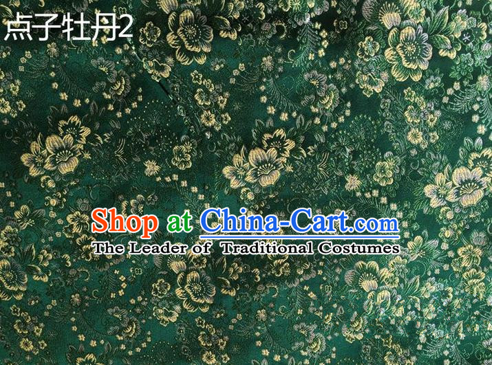 Asian Chinese Traditional Handmade Embroidery Peony Flowers Satin Silk Fabric, Top Grade Nanjing Brocade Tang Suit Hanfu Green Fabric Cheongsam Cloth Material