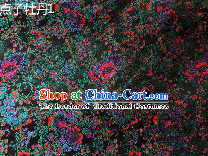 Asian Chinese Traditional Handmade Embroidery Peony Flowers Satin Silk Fabric, Top Grade Nanjing Brocade Tang Suit Hanfu Navy Fabric Cheongsam Cloth Material