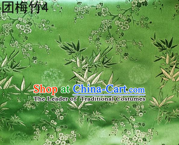 Asian Chinese Traditional Handmade Embroidery Plum and Bamboo Silk Fabric, Top Grade Nanjing Brocade Tang Suit Hanfu Green Fabric Cheongsam Cloth Material