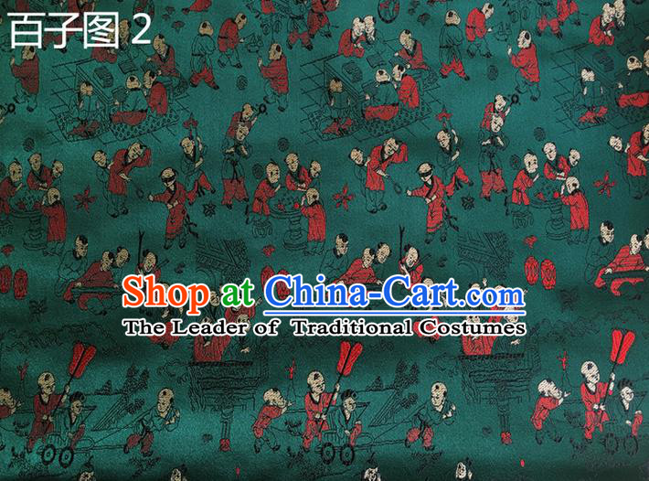 Asian Chinese Traditional Handmade Suzhou Embroidery Hundred Sons Diagram Satin Silk Fabric, Top Grade Hanfu Brocade Tang Suit Fabric Cheongsam Green Cloth Material