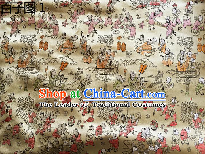Asian Chinese Traditional Handmade Suzhou Embroidery Hundred Sons Diagram Satin Silk Fabric, Top Grade Hanfu Brocade Tang Suit Fabric Cheongsam Golden Cloth Material