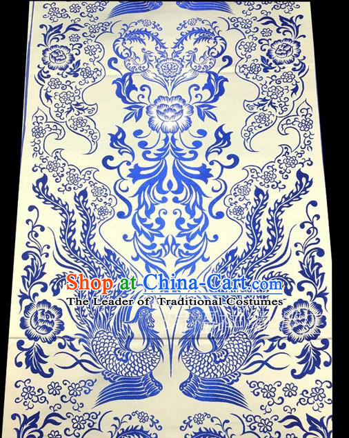 Asian Chinese Traditional Handmade Suzhou Printing Aoi Hana Phoenix Satin Silk Fabric, Top Grade Hanfu Nanjing Brocade Tang Suit Fabric Cheongsam Cloth Material