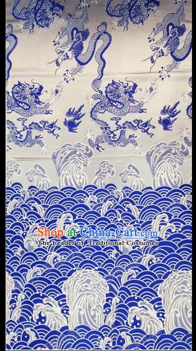 Asian Chinese Traditional Handmade Embroidery Dragon Satin Silk Fabric, Top Grade Nanjing Brocade Tang Suit Hanfu Fabric Cheongsam Cloth Material
