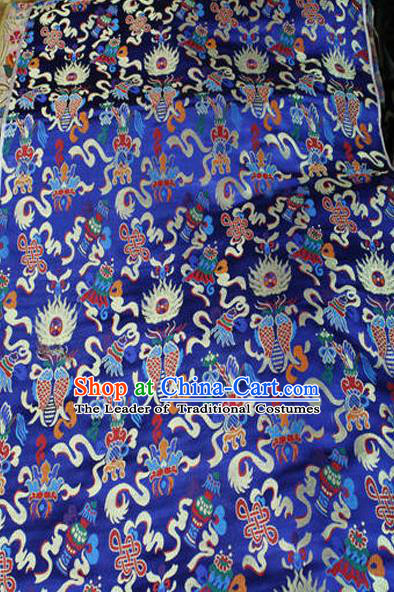 Asian Chinese Traditional Handmade Embroidery Chinese Knot Satin Silk Fabric, Top Grade Nanjing Brocade Tang Suit Hanfu Fabric Cheongsam Blue Cloth Material