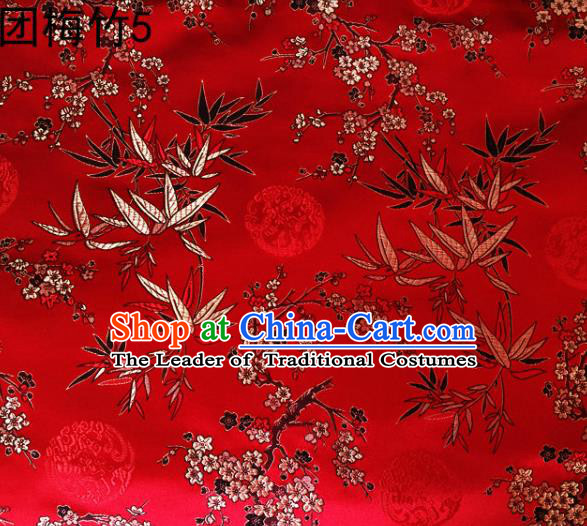 Asian Chinese Traditional Handmade Embroidery Plum and Bamboo Silk Fabric, Top Grade Nanjing Brocade Tang Suit Hanfu Red Fabric Cheongsam Cloth Material