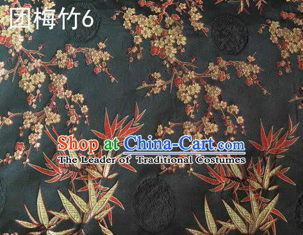 Asian Chinese Traditional Handmade Embroidery Plum and Bamboo Silk Fabric, Top Grade Nanjing Brocade Tang Suit Hanfu Black Fabric Cheongsam Cloth Material