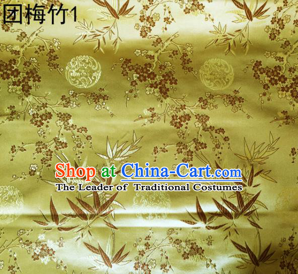 Asian Chinese Traditional Handmade Embroidery Plum and Bamboo Silk Fabric, Top Grade Nanjing Brocade Tang Suit Hanfu Golden Fabric Cheongsam Cloth Material