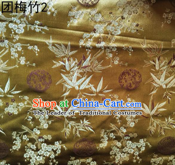 Asian Chinese Traditional Handmade Embroidery Plum and Bamboo Silk Fabric, Top Grade Nanjing Brocade Tang Suit Hanfu Mud Golden Fabric Cheongsam Cloth Material
