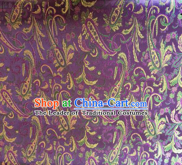 Asian Chinese Traditional Handmade Embroidery Ham Flowers Satin Wedding Silk Fabric, Top Grade Nanjing Brocade Tang Suit Hanfu Fabric Cheongsam Purple Cloth Material