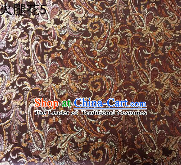 Asian Chinese Traditional Handmade Embroidery Ham Flowers Satin Wedding Silk Fabric, Top Grade Nanjing Brocade Tang Suit Hanfu Fabric Cheongsam Coffee Cloth Material