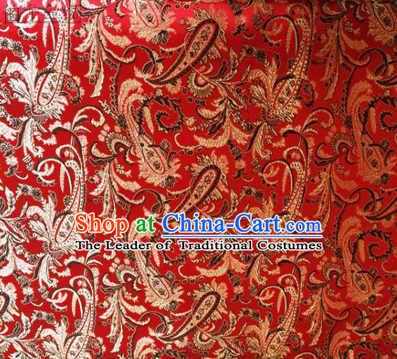 Asian Chinese Traditional Handmade Embroidery Ham Flowers Satin Wedding Silk Fabric, Top Grade Nanjing Brocade Tang Suit Hanfu Fabric Cheongsam Red Cloth Material