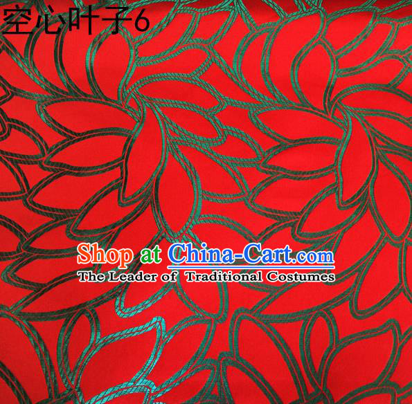 Asian Chinese Traditional Handmade Embroidery Leaf Pattern Satin Wedding Silk Fabric, Top Grade Nanjing Brocade Tang Suit Hanfu Fabric Cheongsam Red Cloth Material