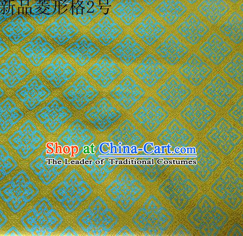Asian Chinese Traditional Handmade Embroidery Rhombus Pattern Satin Silk Fabric, Top Grade Nanjing Brocade Tang Suit Hanfu Fabric Cheongsam Green Cloth Material