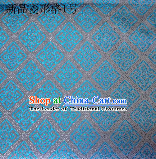 Asian Chinese Traditional Handmade Embroidery Rhombus Pattern Satin Silk Fabric, Top Grade Nanjing Brocade Tang Suit Hanfu Fabric Cheongsam Blue Cloth Material