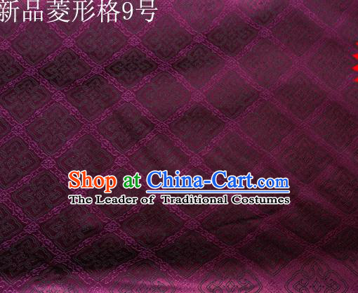Asian Chinese Traditional Handmade Embroidery Rhombus Pattern Satin Silk Fabric, Top Grade Nanjing Brocade Tang Suit Hanfu Fabric Cheongsam Deep Purple Cloth Material