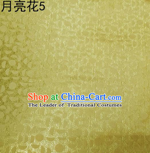 Asian Chinese Traditional Handmade Embroidery Moon Flowers Satin Silk Fabric, Top Grade Nanjing Brocade Tang Suit Hanfu Fabric Cheongsam Yellow Cloth Material