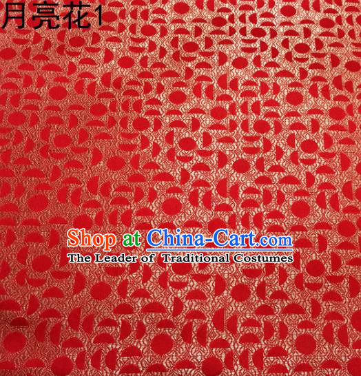 Asian Chinese Traditional Handmade Embroidery Moon Flowers Satin Silk Fabric, Top Grade Nanjing Brocade Tang Suit Hanfu Fabric Cheongsam Red Cloth Material
