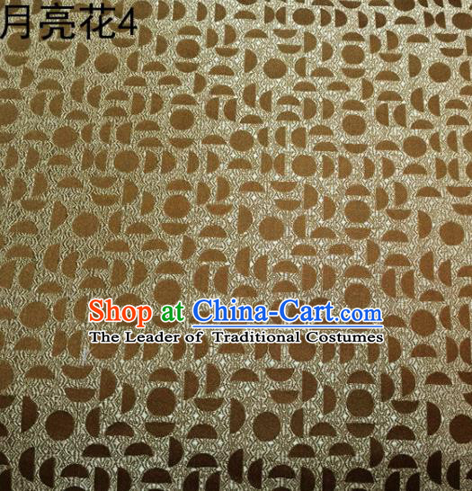 Asian Chinese Traditional Handmade Embroidery Moon Flowers Satin Silk Fabric, Top Grade Nanjing Brocade Tang Suit Hanfu Fabric Cheongsam Golden Cloth Material