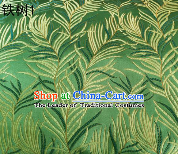 Asian Chinese Traditional Handmade Embroidery Bunga Manggar Flowers Satin Green Silk Fabric, Top Grade Nanjing Brocade Tang Suit Hanfu Fabric Cheongsam Cloth Material