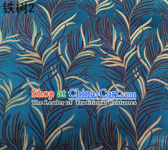 Asian Chinese Traditional Handmade Embroidery Bunga Manggar Flowers Satin Blue Silk Fabric, Top Grade Nanjing Brocade Tang Suit Hanfu Fabric Cheongsam Cloth Material