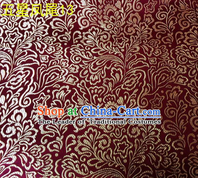Asian Chinese Traditional Handmade Embroidery Golden Five-star Ombre Flowers Satin Silk Fabric, Top Grade Nanjing Brocade Tang Suit Hanfu Fabric Cheongsam Wine Red Cloth Material