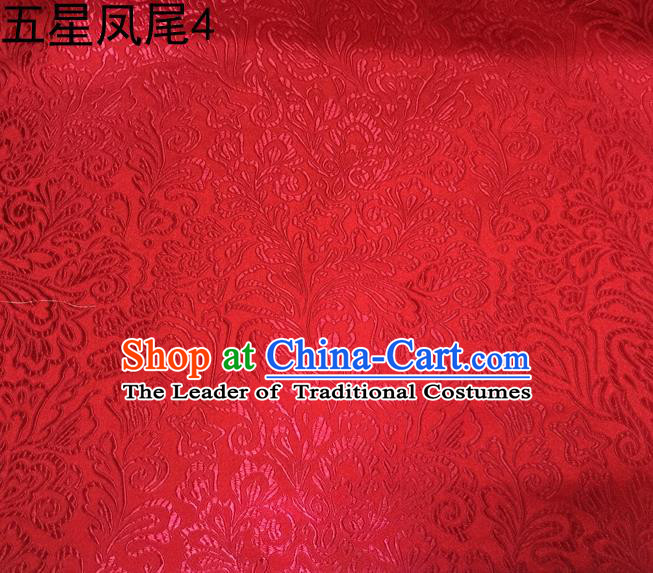 Asian Chinese Traditional Handmade Embroidery Five-star Ombre Flowers Satin Silk Fabric, Top Grade Nanjing Brocade Tang Suit Hanfu Fabric Cheongsam Red Cloth Material