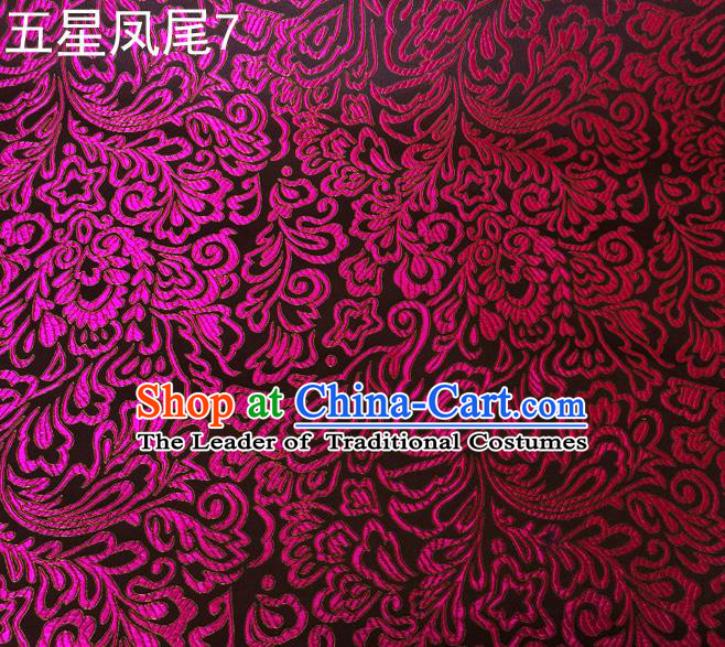 Asian Chinese Traditional Handmade Embroidery Purple Five-star Ombre Flowers Satin Silk Fabric, Top Grade Nanjing Brocade Tang Suit Hanfu Fabric Cheongsam Black Cloth Material