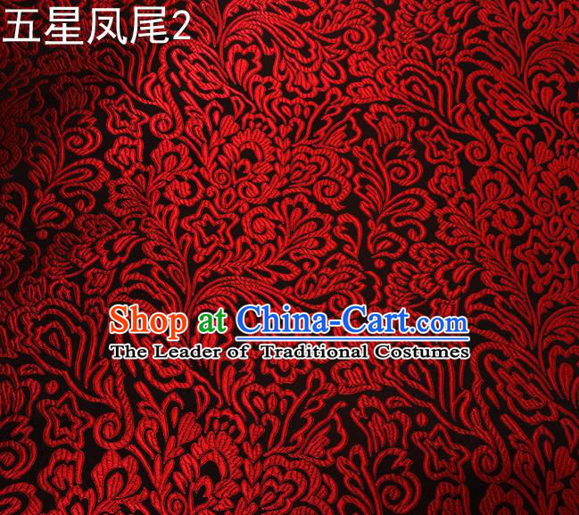 Asian Chinese Traditional Handmade Embroidery Red Five-star Ombre Flowers Satin Black Silk Fabric, Top Grade Nanjing Brocade Tang Suit Hanfu Fabric Cheongsam Cloth Material