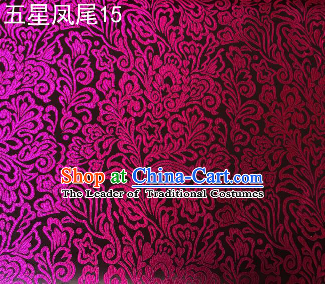 Asian Chinese Traditional Handmade Embroidery Rosy Five-star Ombre Flowers Satin Black Silk Fabric, Top Grade Nanjing Brocade Tang Suit Hanfu Fabric Cheongsam Cloth Material