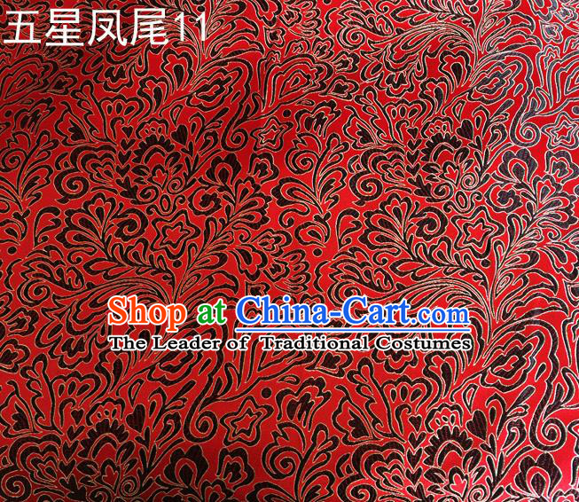 Asian Chinese Traditional Handmade Embroidery Black Five-star Ombre Flowers Satin Red Silk Fabric, Top Grade Nanjing Brocade Tang Suit Hanfu Fabric Cheongsam Cloth Material