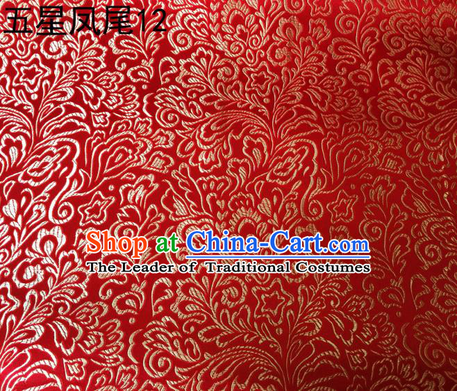 Asian Chinese Traditional Handmade Embroidery Golden Five-star Ombre Flowers Satin Red Silk Fabric, Top Grade Nanjing Brocade Tang Suit Hanfu Fabric Cheongsam Cloth Material
