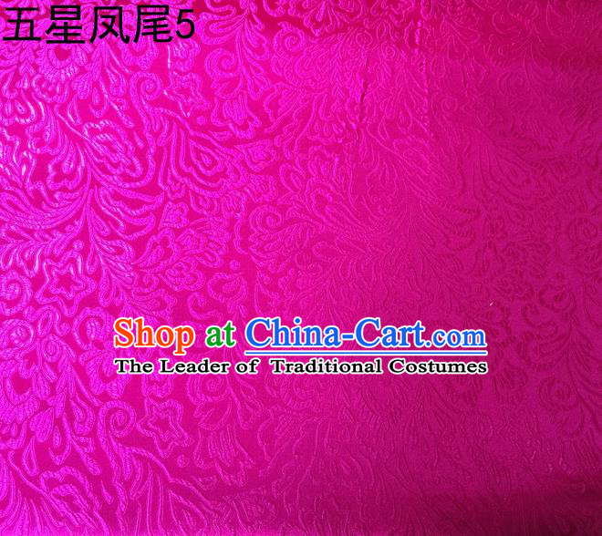 Asian Chinese Traditional Handmade Embroidery Five-star Ombre Flowers Satin Rosy Silk Fabric, Top Grade Nanjing Brocade Tang Suit Hanfu Fabric Cheongsam Cloth Material