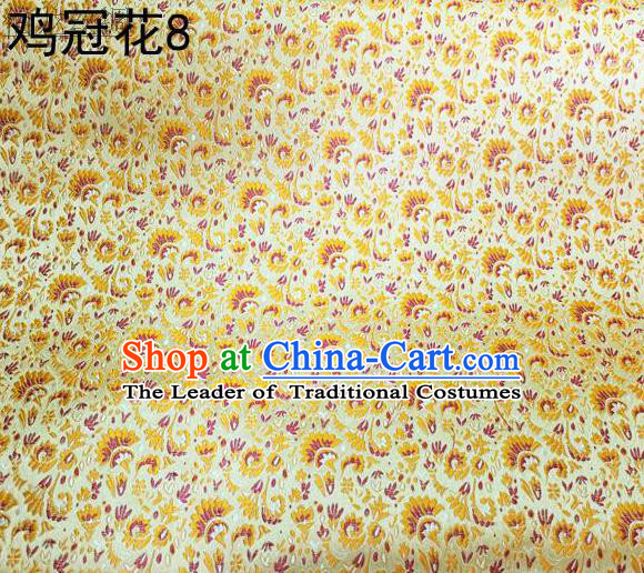 Asian Chinese Traditional Handmade Embroidery Cockscomb Flowers Satin Thangka Yellow Silk Fabric, Top Grade Nanjing Brocade Tang Suit Hanfu Fabric Cheongsam Cloth Material